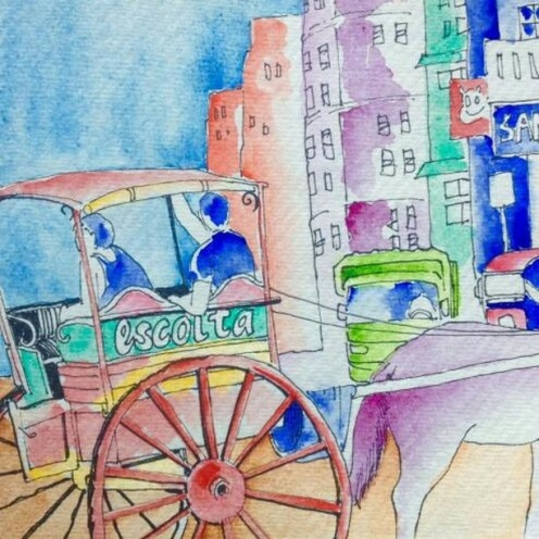 #Doodlewash - Watercolor Sketch by Abel Pabres - cart and horse - #WorldWatercolorGroup
