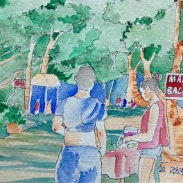 #Doodlewash - Watercolor Sketch by Abel Pabres - people in the park - #WorldWatercolorGroup