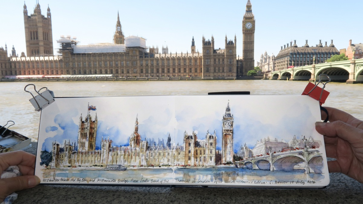 #Doodlewash - Stephanie Bower, #UrbanSketcher - watercolor sketch: Sketching in London before the Urban Sketchers symposium #WorldWatercolorGroup