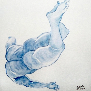 #Doodlewash - Watercolor Sketch by Abel Pabres - male nude in blue - #WorldWatercolorGroup