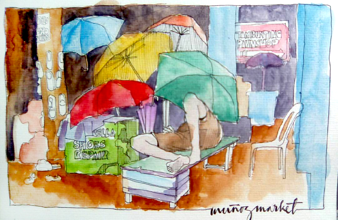#Doodlewash - Watercolor Sketch by Abel Pabres - Man Relaxing Under Umbrellas - #WorldWatercolorGroup