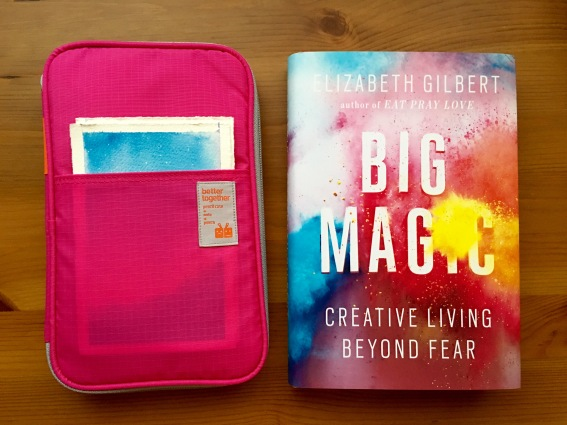 Cheap Joes American Journey and golden fleece Travel brushes and da vinci cosmotop spin travel brush Mochi Things Better Together note pouch v3 watercolor travel setup, elizabeth gilbert big magic