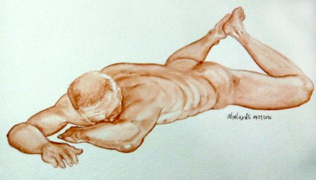 #Doodlewash - Watercolor Sketch by Abel Pabres - Older man nude - #WorldWatercolorGroup