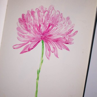 #Doodlewash - Watercolor by Sharmini Markandu - pink flower - #WorldWatercolorGroup