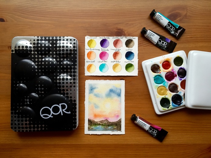 Qor high chroma and earth set of 6 watercolors in a 12 well jack richeson porcelain palette, Qor paint swatches
