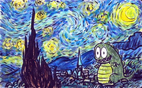 #Doodlewash - Watercolor comic by Damian Willcox, dorkboy comics - starry night with godzilla - #WorldWatercolorGroup
