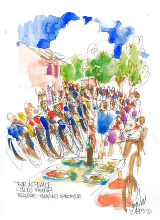 #Doodlewash - Watercolor Sketch By Erin Hill - tour de france - #WorldWatercolorGroup