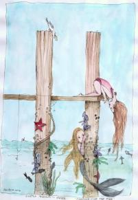 #Doodlewash - Watercolor by Nadene Esterhuizen of girl and mermaid #WorldWatercolorGroup