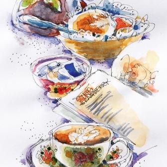 #Doodlewash - Watercolor Sketch By Erin Hill - watercolour demo tea scones - #WorldWatercolorGroup