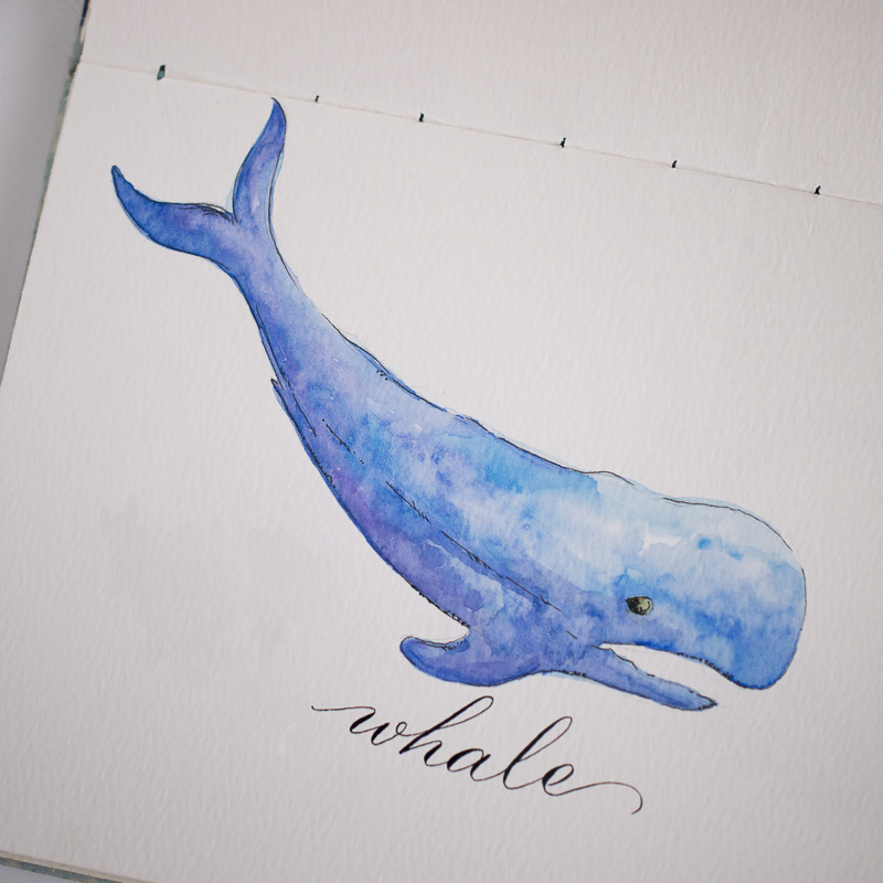#Doodlewash - Watercolor by Sharmini Markandu - whale - #WorldWatercolorGroup