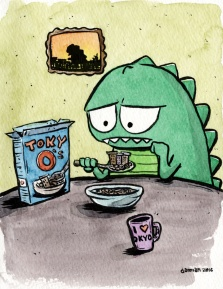 #Doodlewash - Watercolor comic by Damian Willcox, dorkboy comics - zilla is homesick - #WorldWatercolorGroup