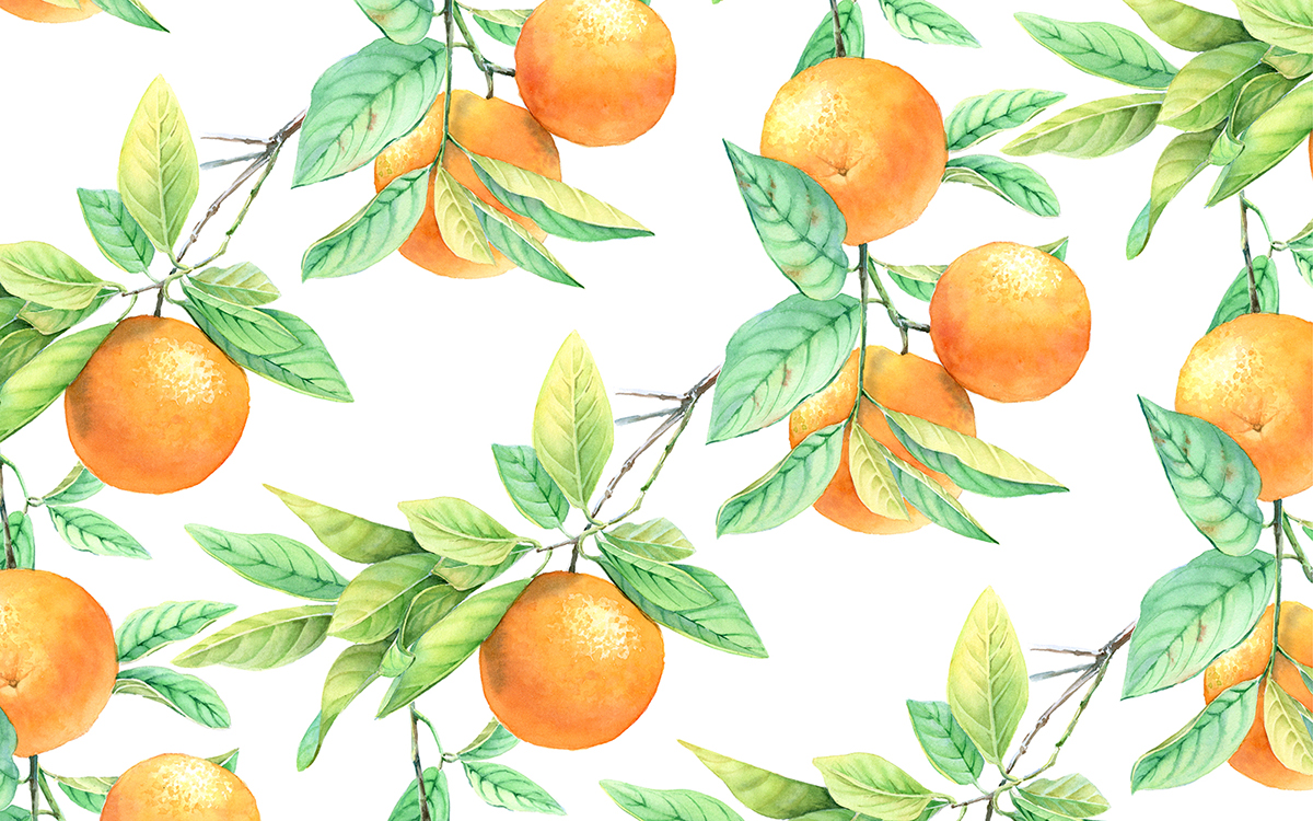 #WorldWatercolorGroup - Watercolor by Kateryna Savchenko of orange tree watercolor pattern - #doodlewash