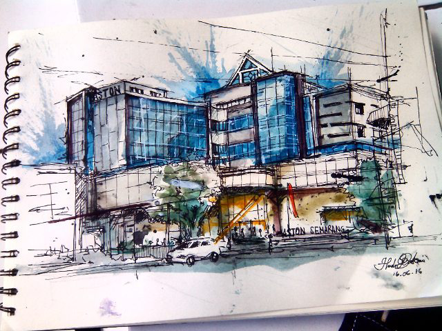 #WorldWatercolorGroup - Watercolor sketch by Noor Huda Bastomi of aston hotel semarang #urbansketchers #usk - #Doodlewash