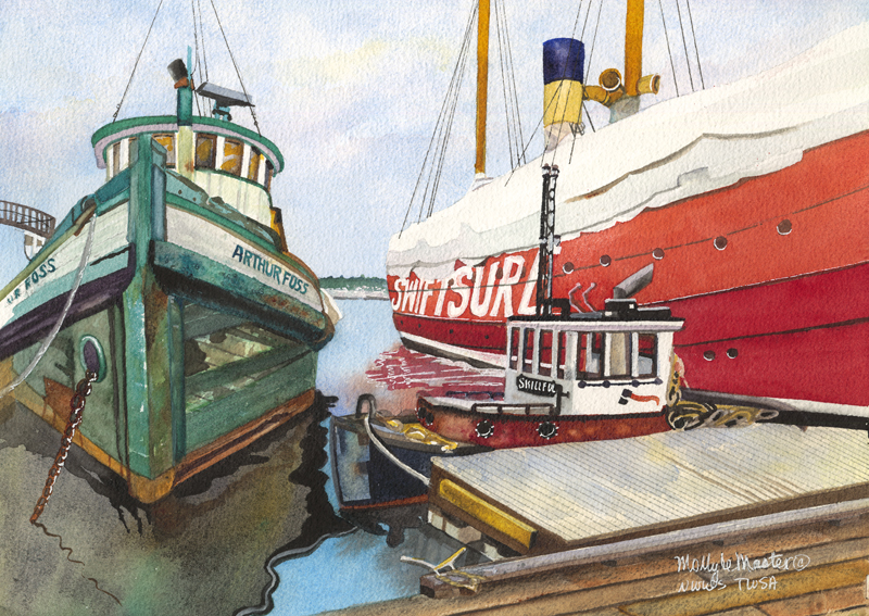 #WorldWatercolorGroup Watercolor painting by Molly LeMaster - Arthur Foss Boat - #doodlewash
