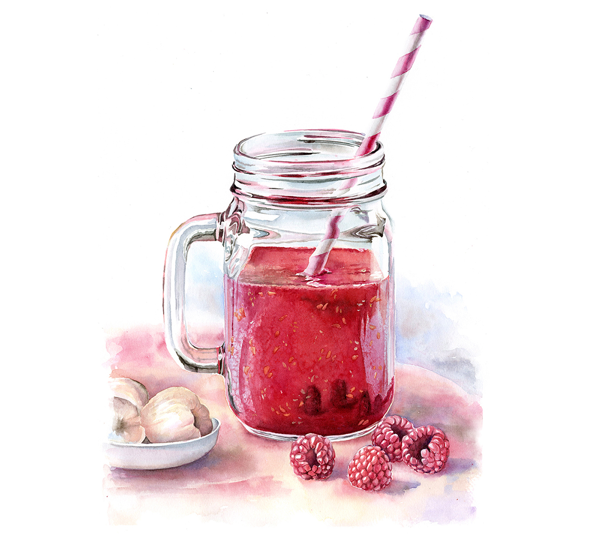 #WorldWatercolorGroup - Watercolor by Kateryna Savchenko of drink with raspberries - #doodlewash