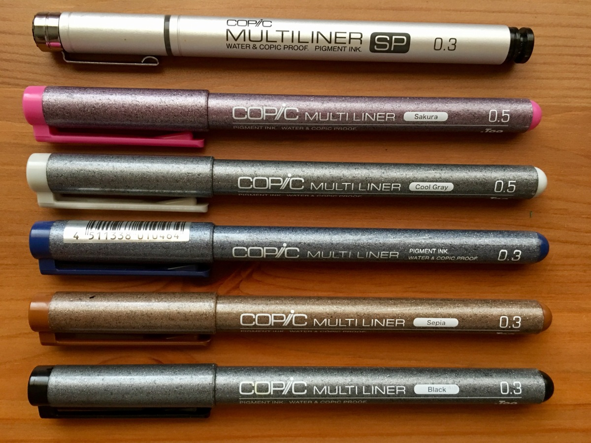 copic multinliner, black, sepia, blue, cool gray, sakura, multiliner sp, waterproof ink