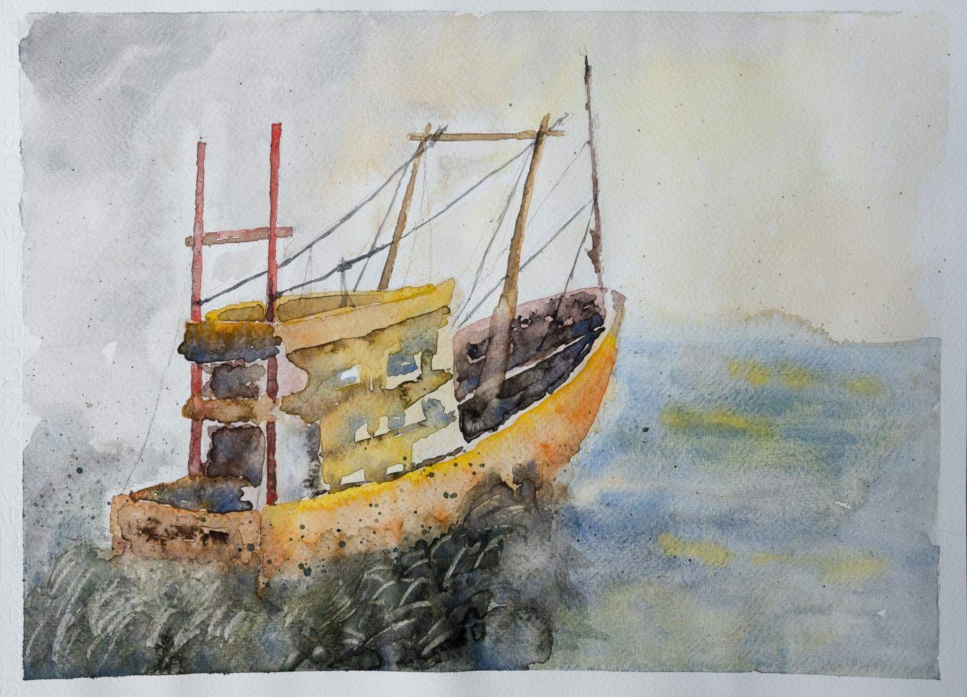 #WorldWatercolorGroup Watercolor painting by Daniel Trump of boat on water - #doodlewash
