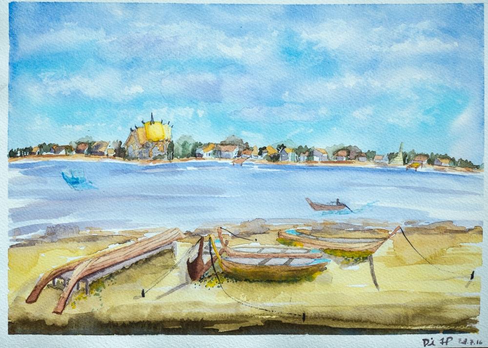 #WorldWatercolorGroup Watercolor painting by Daniel Trump of shoreline - #doodlewash