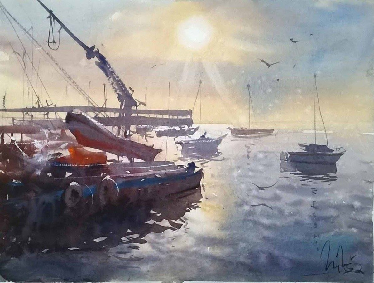 #WorldWatercolorGroup - watercolor by Dalibor Popovic Miksa of sunset and boats - #doodlewash