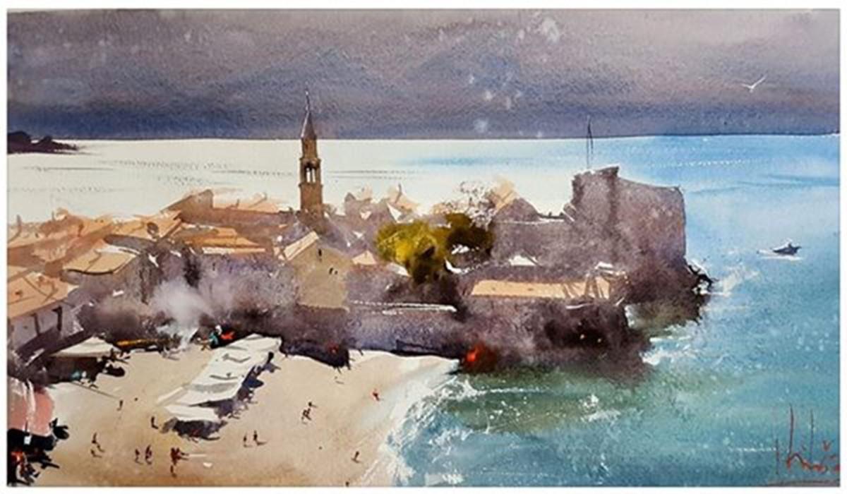 #WorldWatercolorGroup - watercolor by Dalibor Popovic Miksa of seaside village - #doodlewash