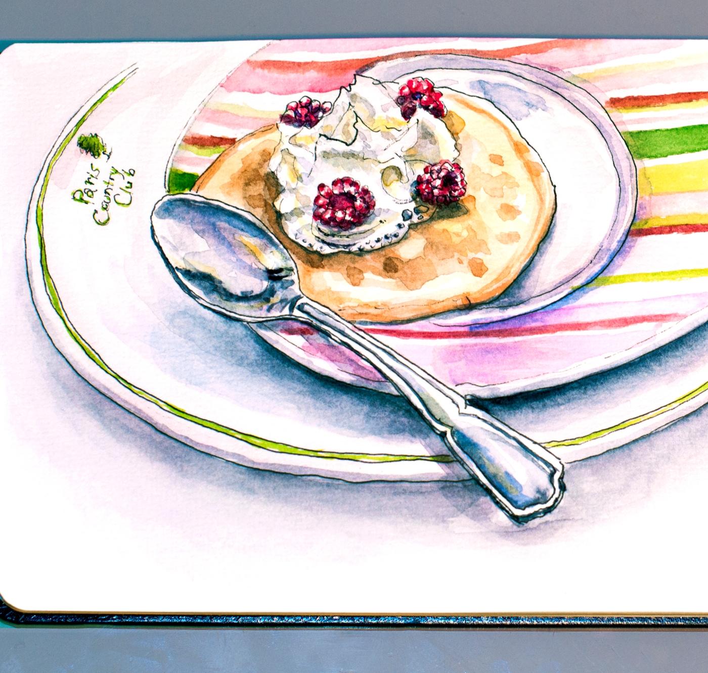 Day 1 #WorldWatercolorGroup Crêpe à la crème et les framboises