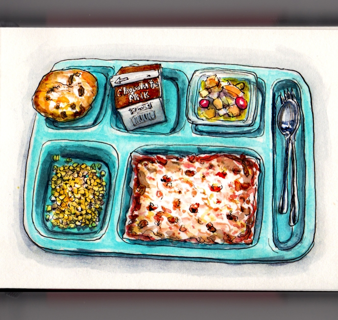 Day 11 - #WorldWatercolorGroup Pizza Day School lunch rectangular pizza of the 70's and 80's