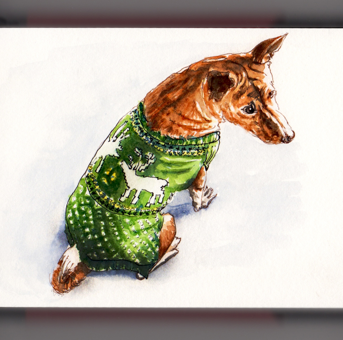 Day 17 - #WorldWatercolorGroup Pet Portrait of Phineas Dog in Green Sweater