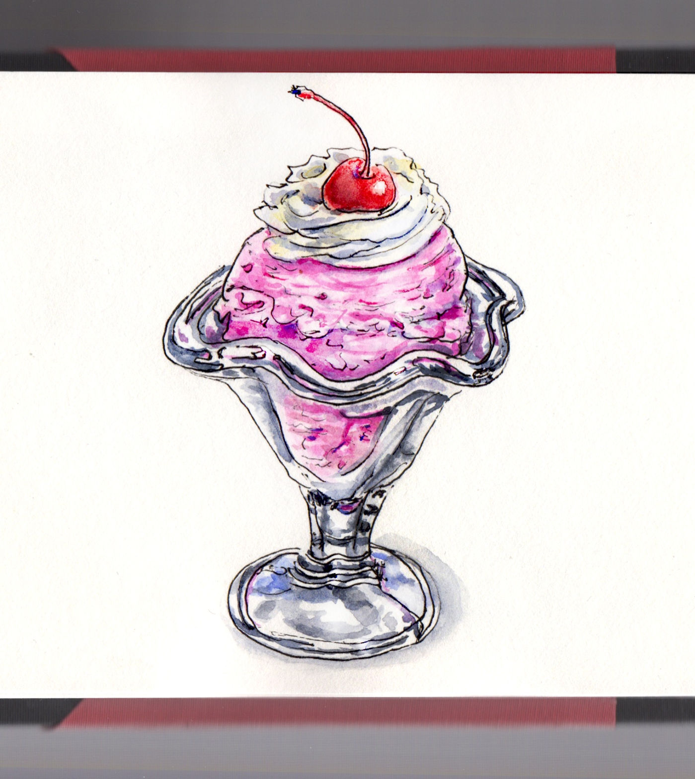 Day 18 - #WorldWatercolorGroup Homemade Ice Cream Strawberry Old Fashioned Glass White Background