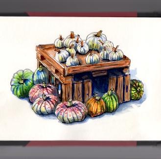 Day 26 - #WorldWatercolorGroup National Pumpkin Day Various pumpkins squash
