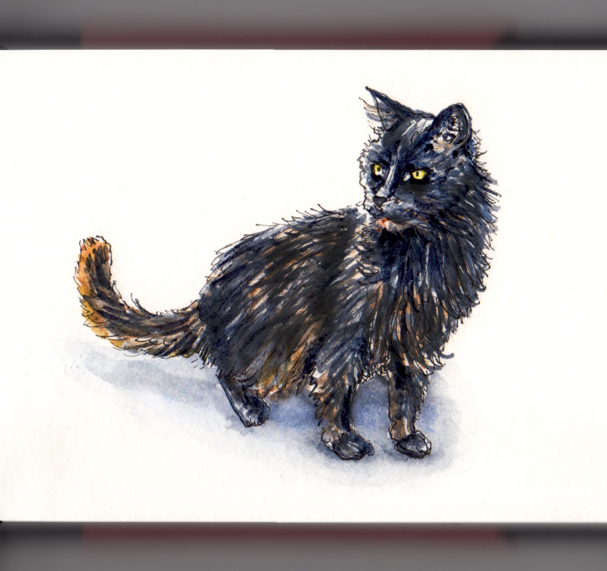 Day 29 - #WorldWatercolorGroup National Cat Day Black Halloween Cat Watercolor