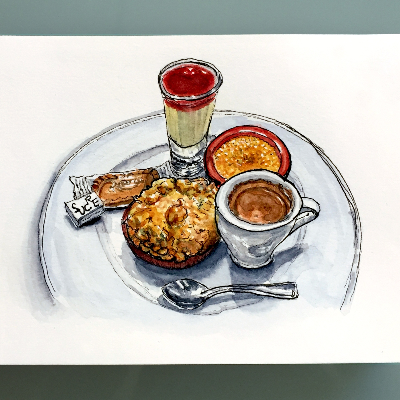 Day 3 - #WorldWatercolorGroup J'Adore Le Café Gourmand Paris France
