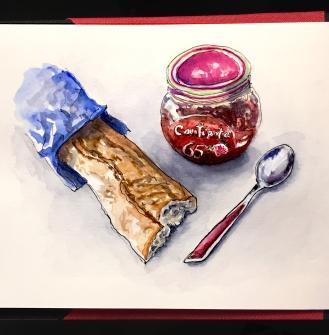 Day 5 - #WorldWatercolorGroup Petit-Déjeuner À Paris France breakfast baquette Confipote