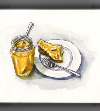 Day 9 - #WorldWatercolorGroup French Toast with Honey Brioche Pain Perdu avec Miel