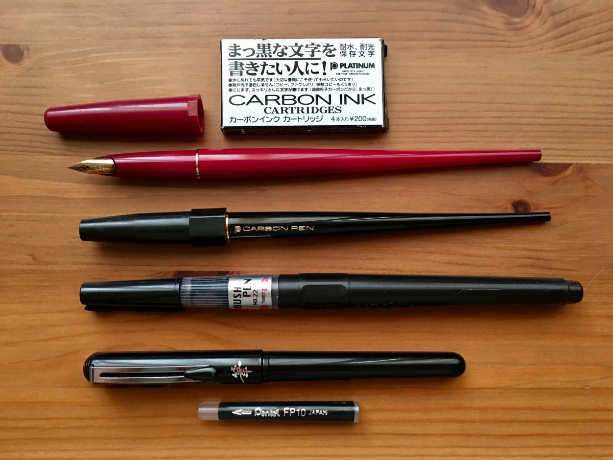 platinum carbon desk fountain pen, pilot desk pen, zig cartoonist brush pen No. 22, pentel brush pen, waterproof ink, platinum carbon ink