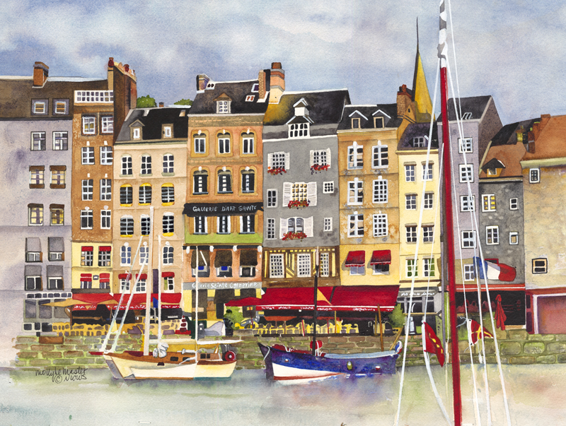 #WorldWatercolorGroup Watercolor painting by Molly LeMaster - Honfleur - #doodlewash