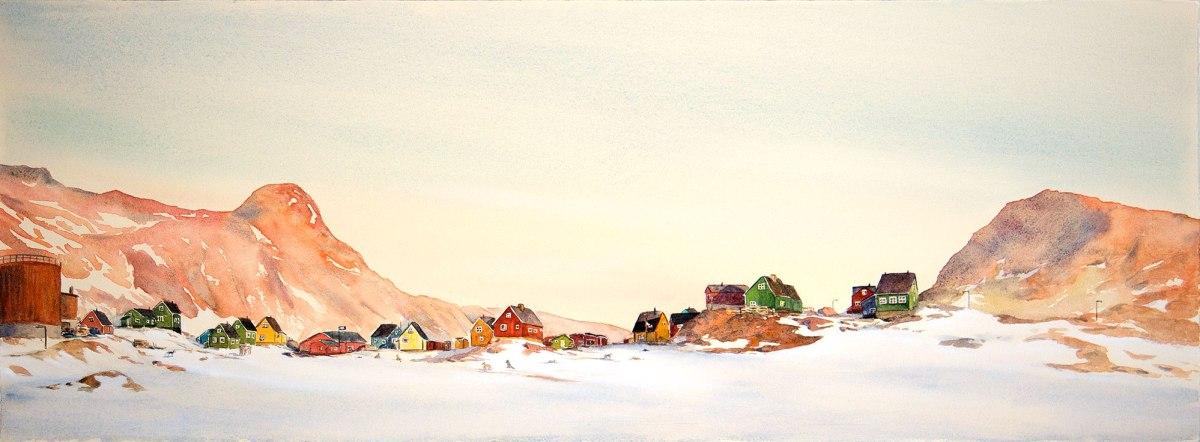 #WorldWatercolorGroup - Watercolor Sketch by Maria Coryell-Martin of niaqornat sunrise - #doodlewash