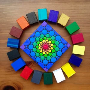 paint cube mandala with painting by Elspeth McLean