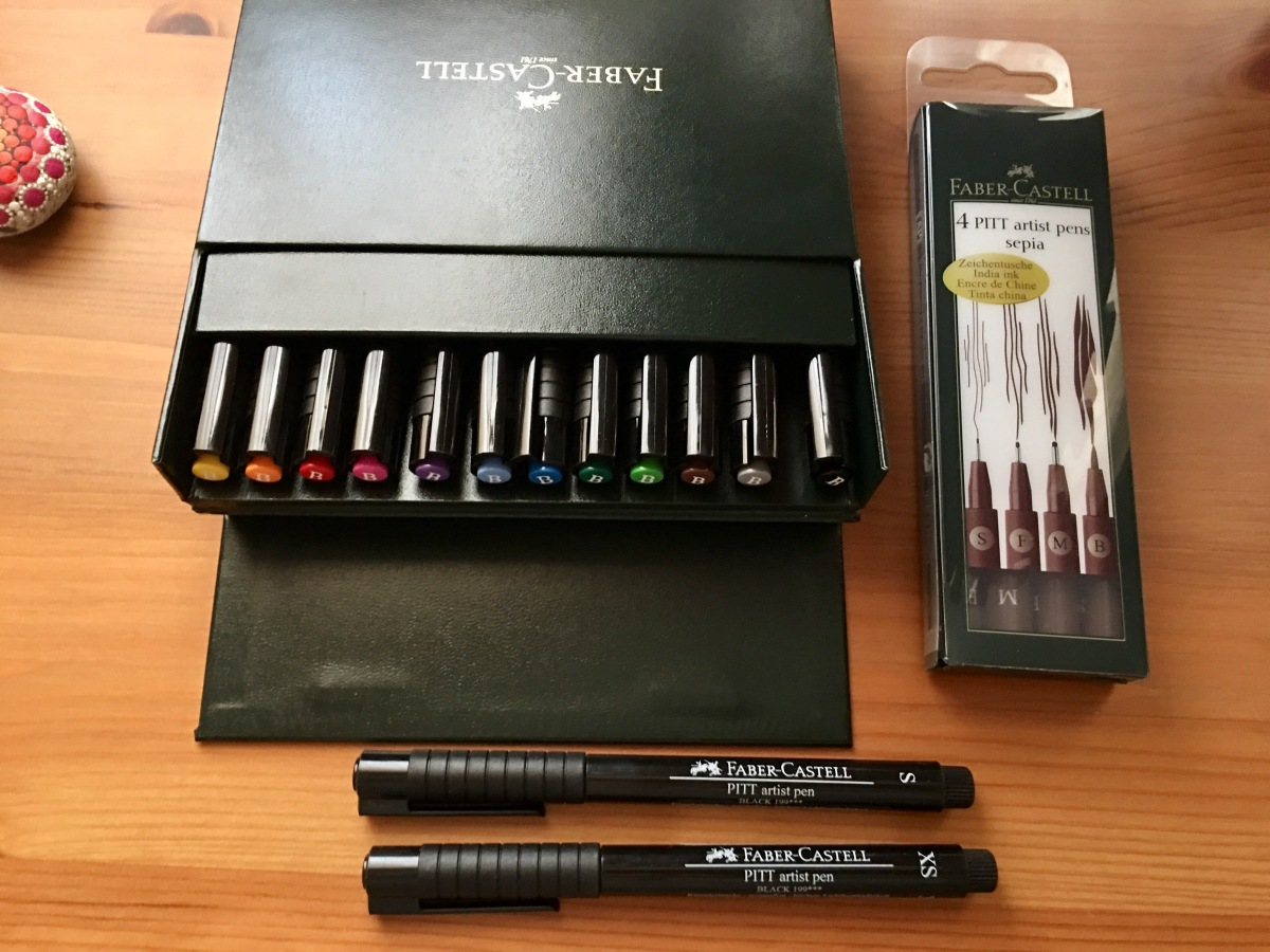 Pitt artist pens, brush pens, Faber-Castell, sepia, black multi-colored