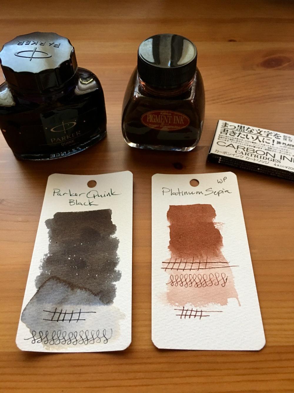 Platinum carbon ink black, platinum carbon ink sepia, parker quink black, ink swatchws