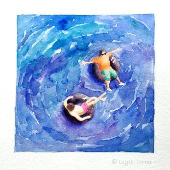 #Doodlewash - Watercolor Illustration by Leyla Torres of tubing - #WorldWatercolorGroup