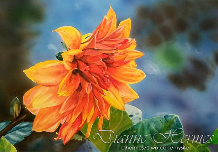 #WorldWatercolorGroup - Water color by Dianne Hermes of orange flower - #doodlewash