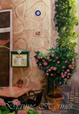 #WorldWatercolorGroup - Water color by Dianne Hermes of view outside restaurant - #doodlewash