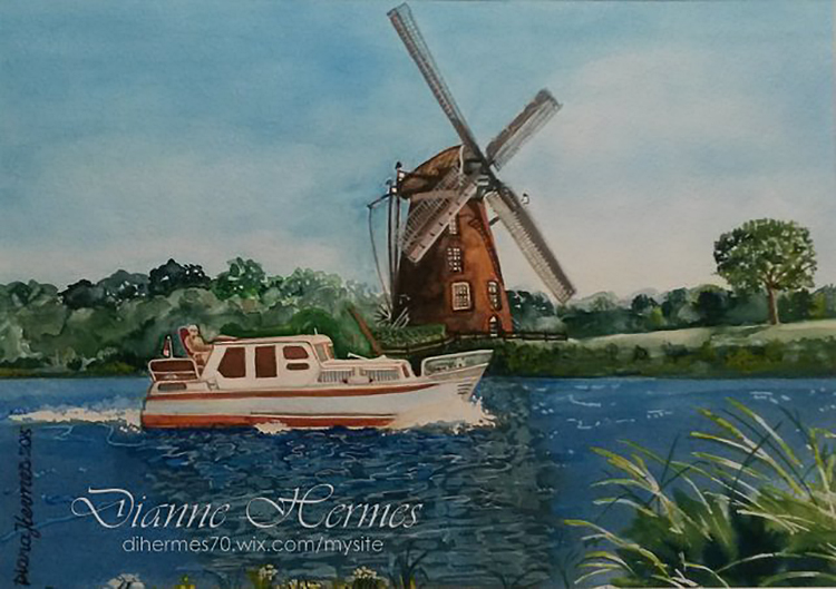 #WorldWatercolorGroup - Water color by Dianne Hermes of windmill and boat on water - #doodlewash