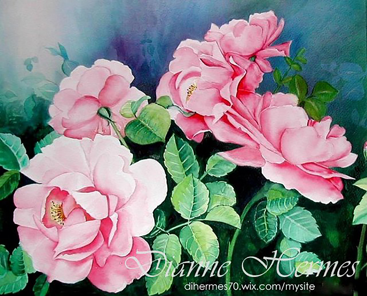 #WorldWatercolorGroup - Water color by Dianne Hermes of pink flowers - #doodlewash