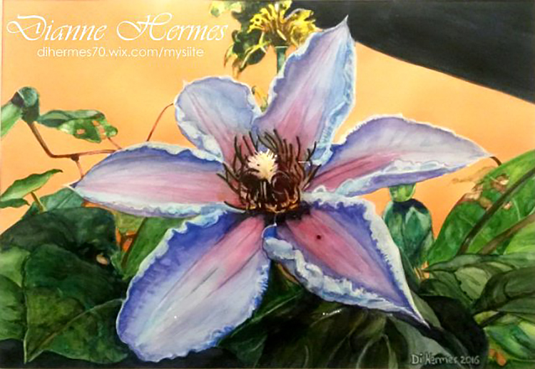 #WorldWatercolorGroup - Water color by Dianne Hermes of purple flower - #doodlewash
