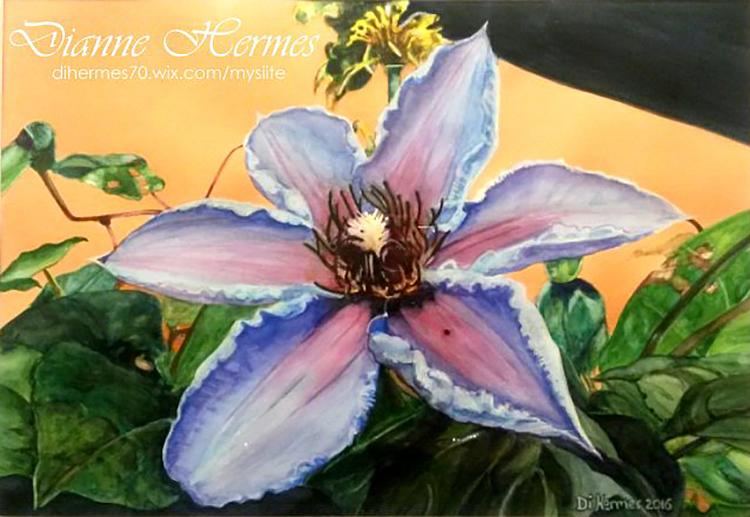 #WorldWatercolorGroup - Water color by Dianne Hermes of purple flower - #doodlewash