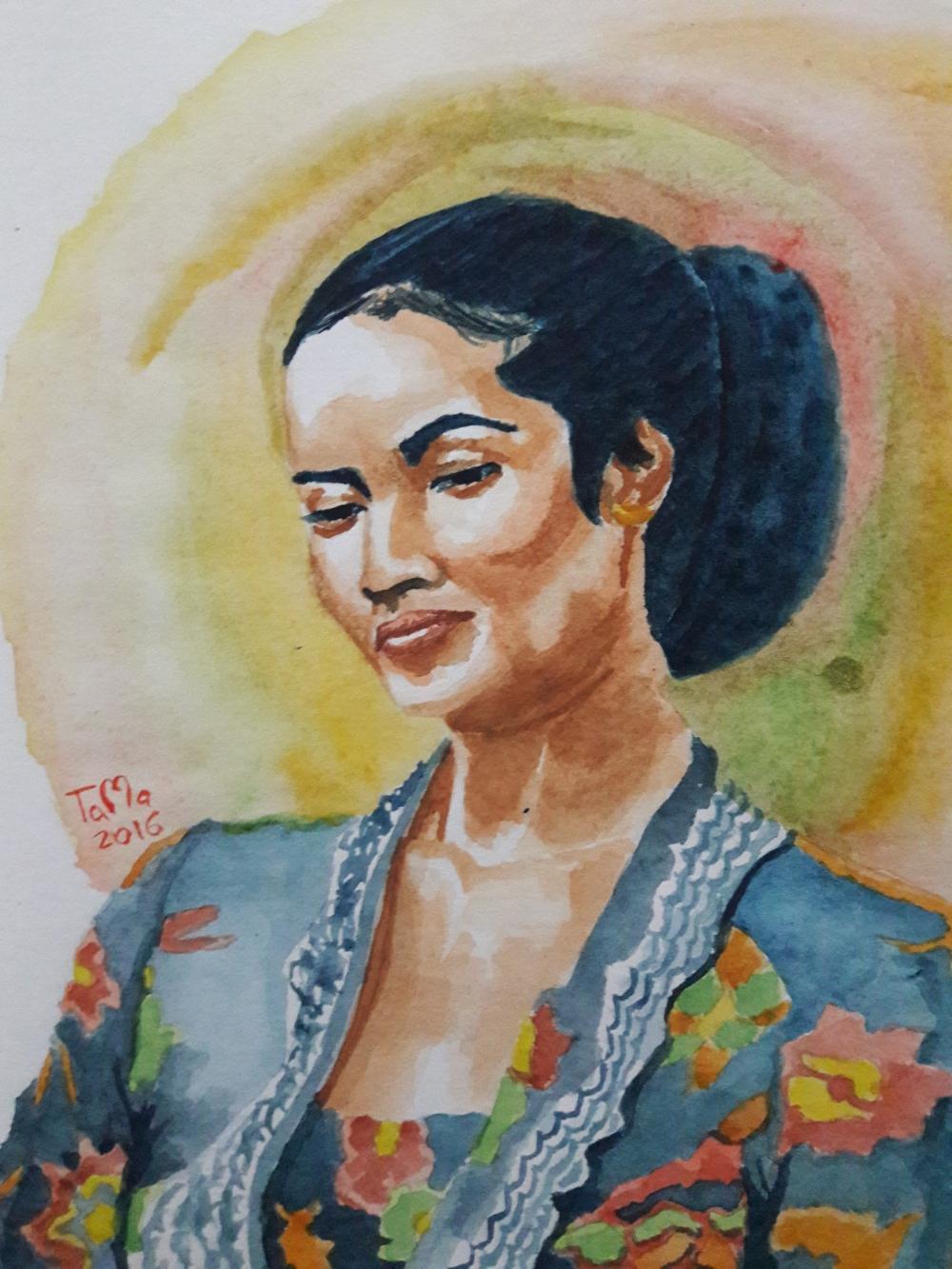 #WorldWatercolorGroup - Watercolor portait by Bastian Adi Pratama - #doodlewash