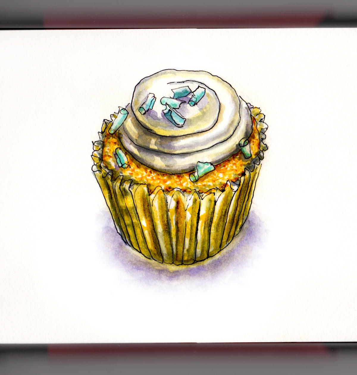 Day 10 - #WorldWatercolorGroup - Vanilla cupcake in gold foil cup with buttercream frosting