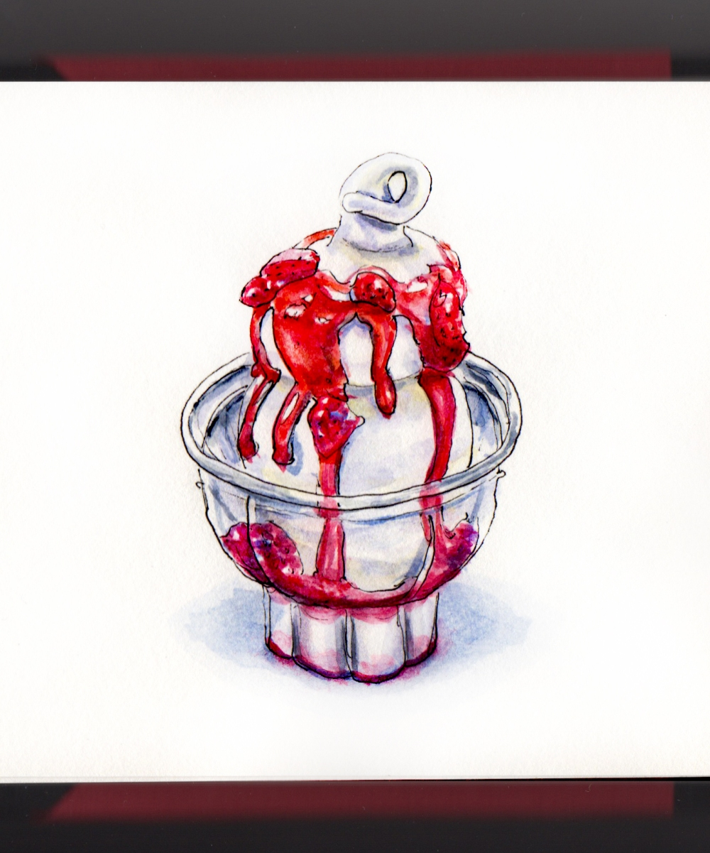 Day 11 - #WorldWatercolorGroup National Sundae Day Dairy Queen strawberry Sundae
