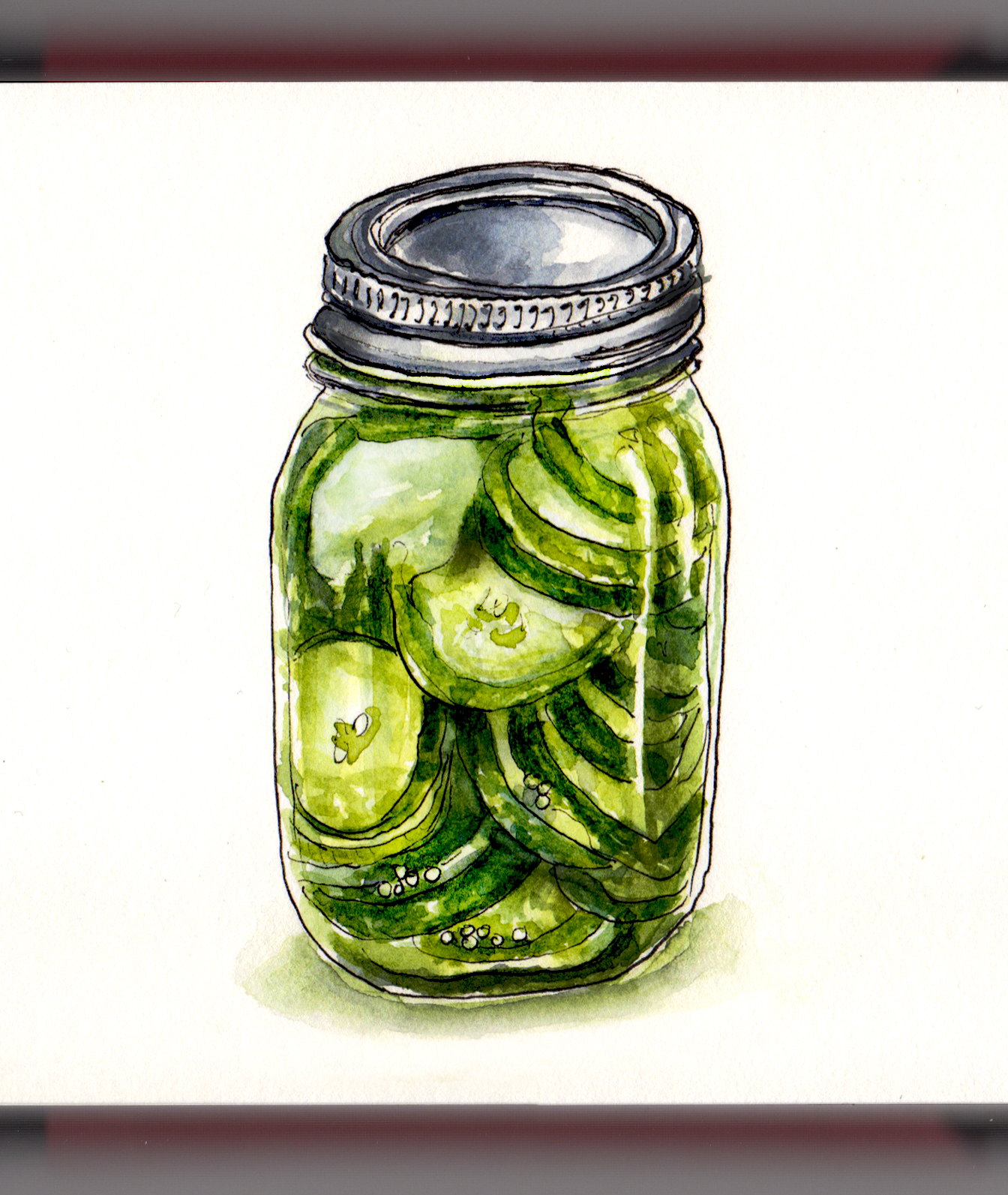 Day 14 - #WorldWatercolorGroup Jar of Pickles watercolor watercolour painting